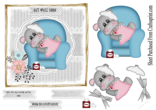 Get Well Soon Cute Hippo Cup907053 18940 Craftsuprint