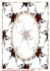Pink Antique Rose, Lace and Pearl Card Front - CUP445454 ...