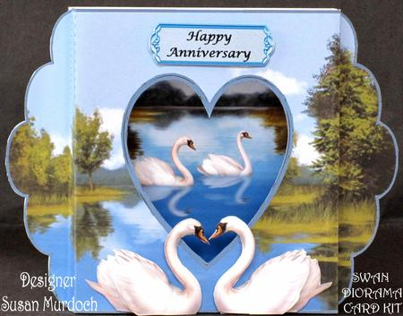 Swan Diorama Anniversary Card Kit With Matching Envelope