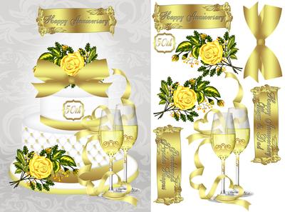 50th golden wedding anniversary card front cup314037_1446 craftsuprint