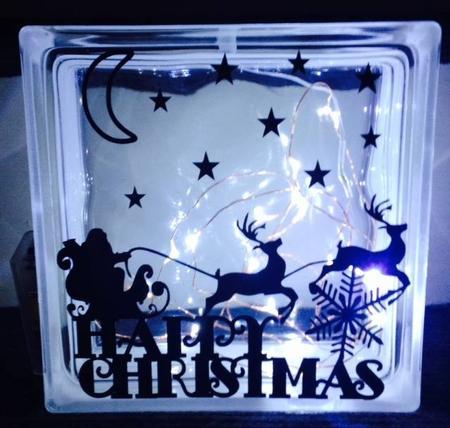 Happy Christmas Santa And Glass Block Tile Design 6x6