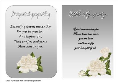 two a5 sympathy cards with verses cup208427 33 craftsuprint
