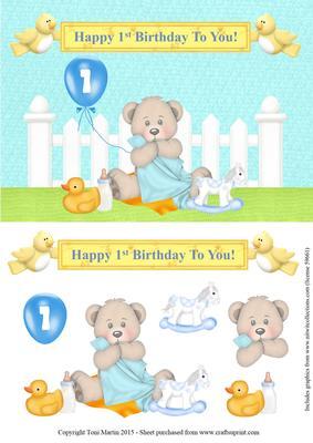 Happy 1st Birthday Bear Topper Decoupage