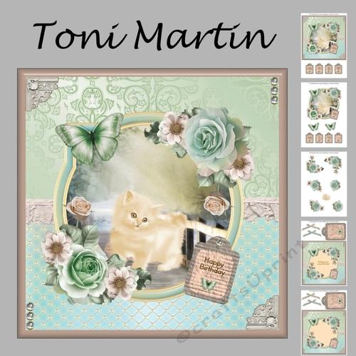 Kitten /& Butterfly by the Door Card Topper /& Decoupage by Toni Martin