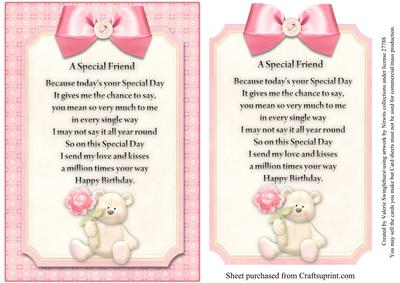 a special friend card front with verse pink cup267357 880
