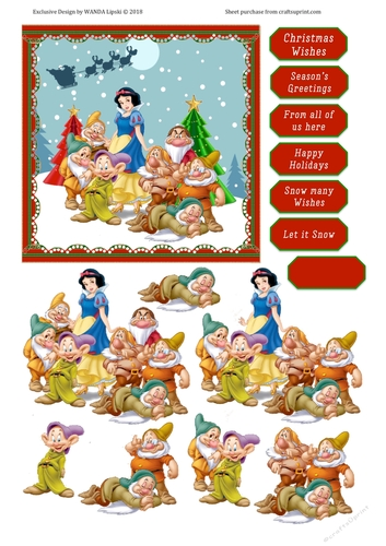 Christmas Wishes Card.Snow Whites Christmas Wishes Card Front Topper