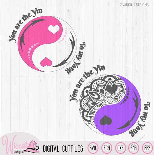 Yin Yang Love Quote Doodle Cut File For All Cut Machines