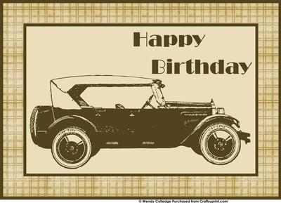 Vintage Car For Mens Birthday Cards