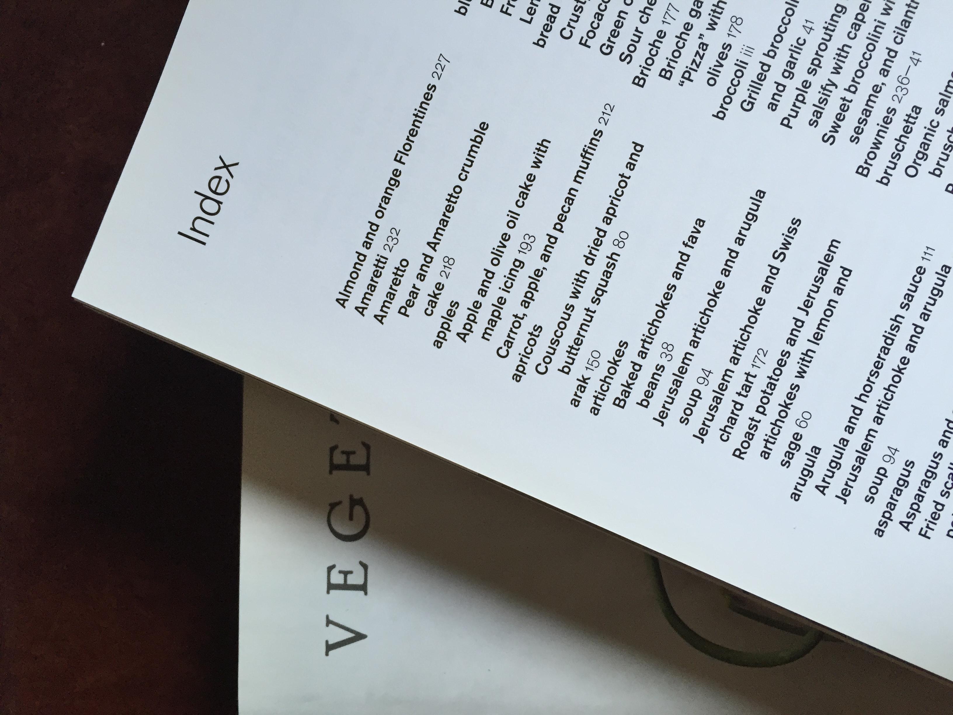 A cookbook index