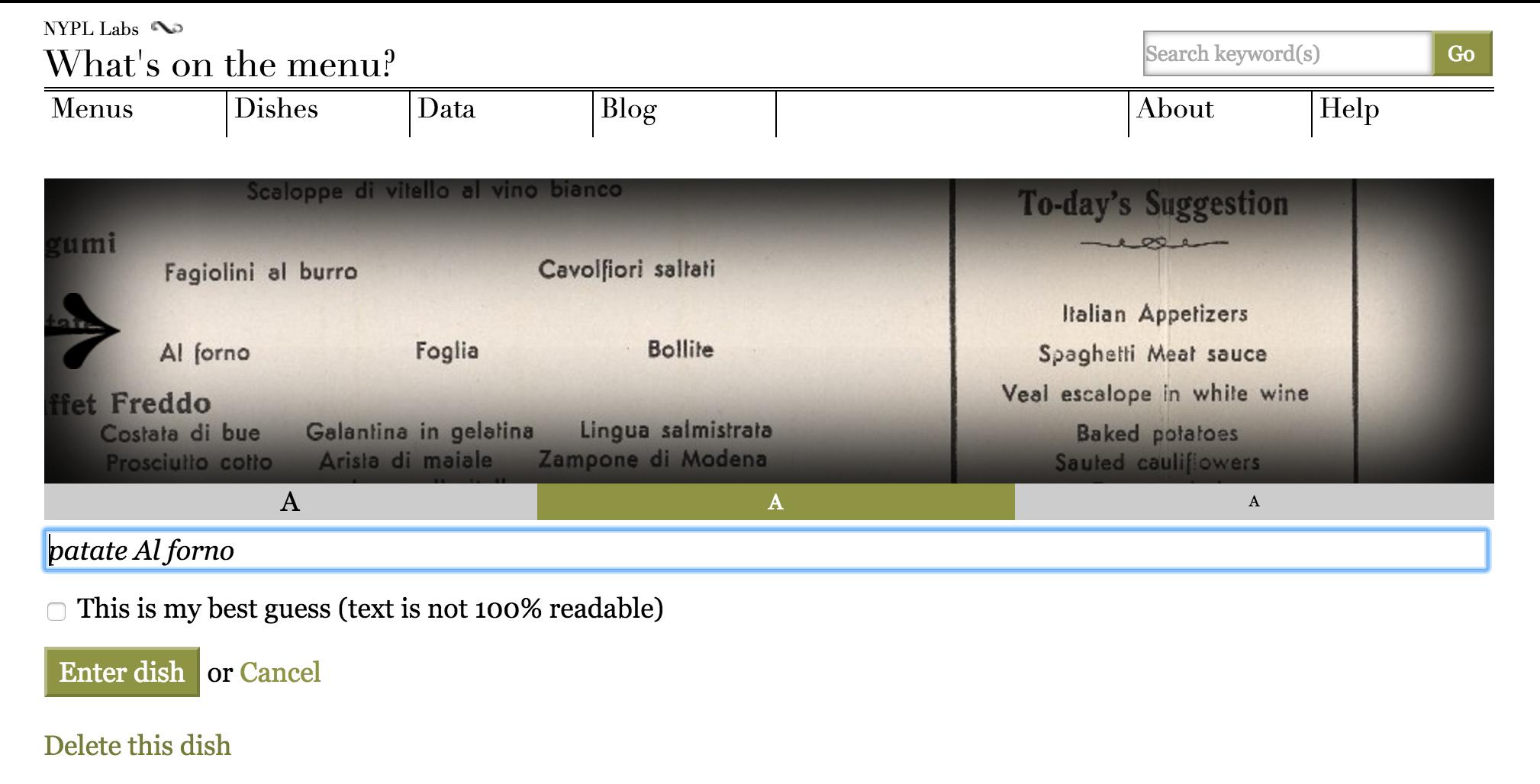 The zoom tool at menus.nypl.org