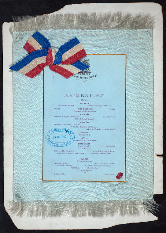 A silk menu with card backing