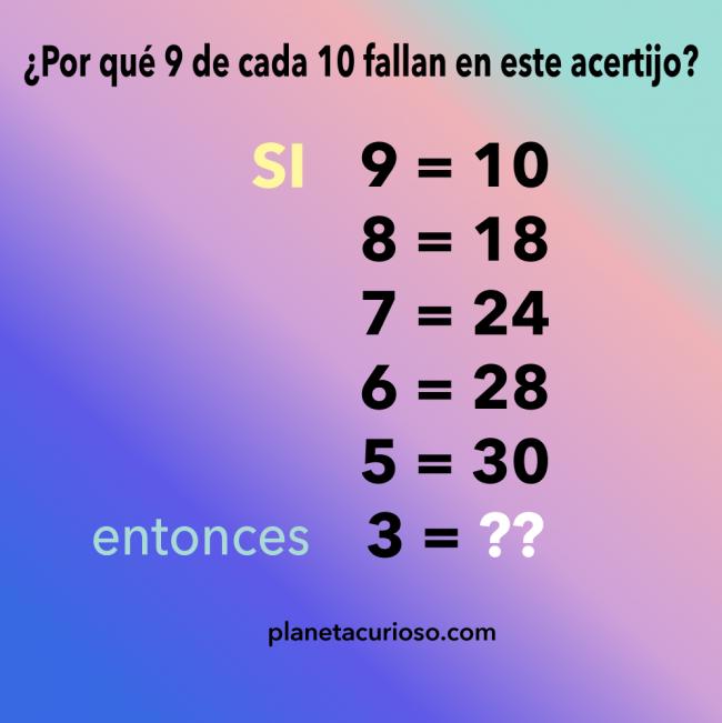 ¿Por qué 9 de cada 10 fallan en este sencillo acertijo?