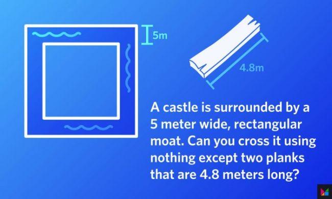¿Puedes resolver este simple acertijo lógico? Un castillo, un foso y dos tablas romperán tu ingenio