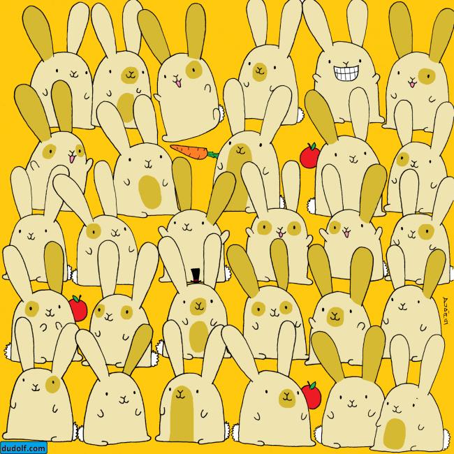 ¿Puedes hallar al conejo que no tiene un gemelo en este acertijo visual?