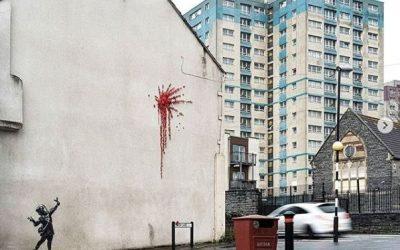 Bansky pinta una explosión de corazones por San Valentín