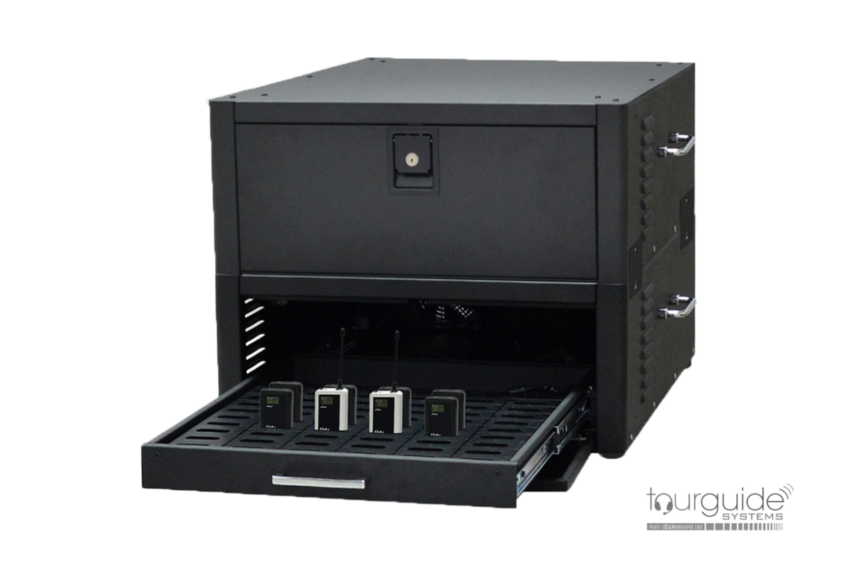 60-slot charger drawer in cabinet