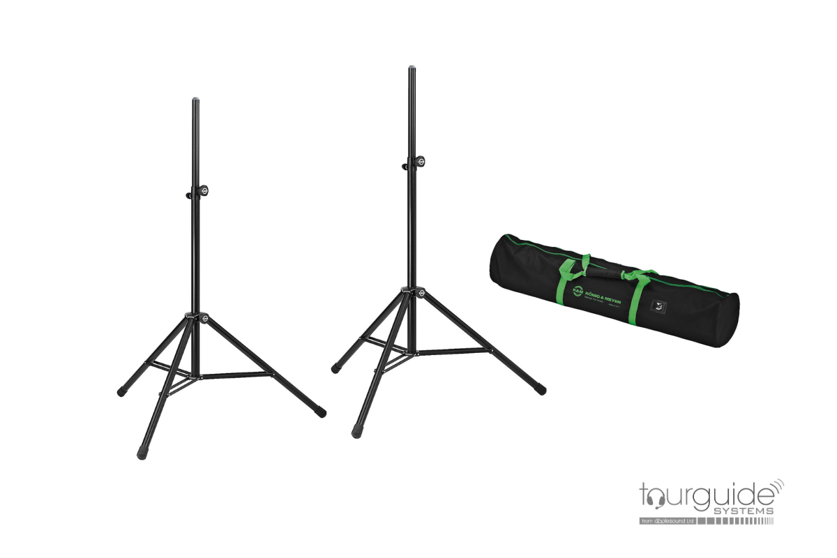 Pair speaker tripod stands & carry bag