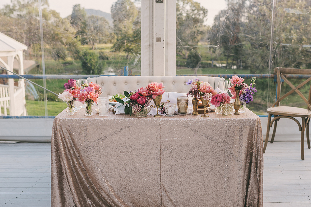 Cocktail table with rose gold sequin cloth - Splash Events, Noosa & Sunshine Coast