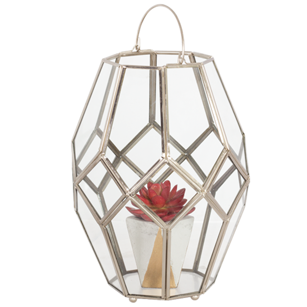 Silver and glass hex lantern - Splash Events, Noosa & Sunshine Coast
