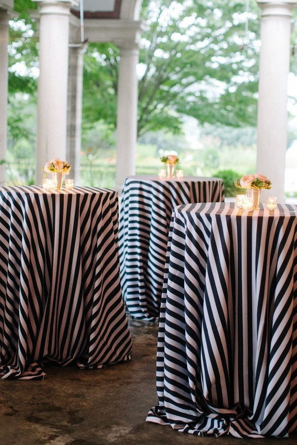 Navy and white stripe round tablecloth - Splash Events, Noosa & Sunshine Coast