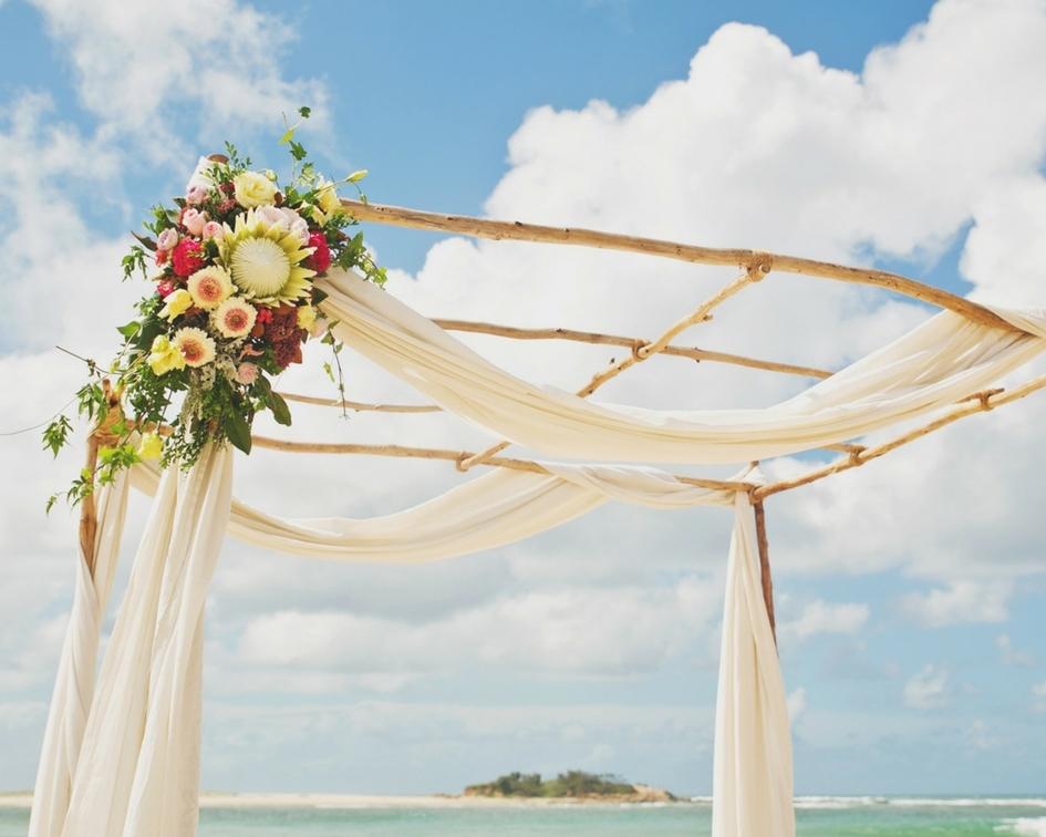 Gum canopy with woven fabric draping - Splash Events, Noosa & Sunshine Coast