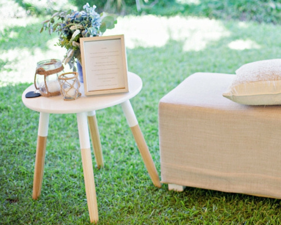 Round white wooden side table (timber legs) - Splash Events, Noosa & Sunshine Coast