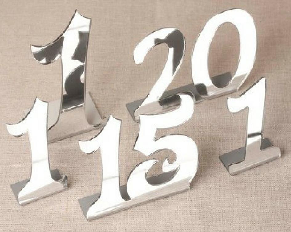 Mirror table numbers sets - Splash Events, Noosa & Sunshine Coast