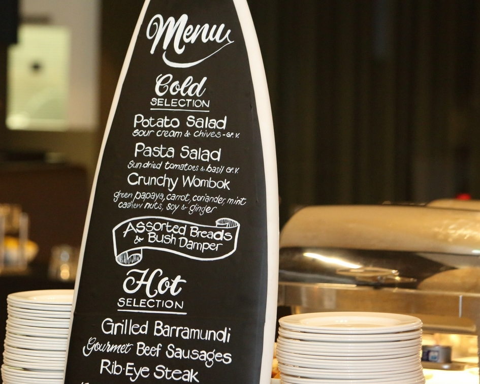 Surfboard menu board - Splash Events, Noosa & Sunshine Coast