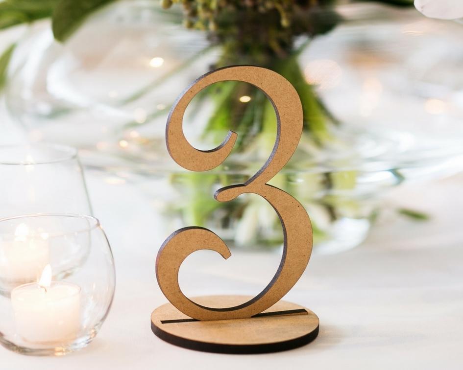Elegant natural wooden table numbers - Splash Events, Noosa & Sunshine Coast