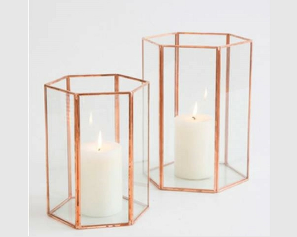 Rose gold & glass hexagon lantern - Splash Events, Noosa & Sunshine Coast