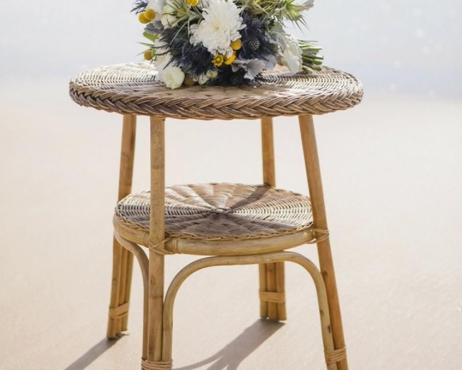 Natural wicker side table - Splash Events, Noosa & Sunshine Coast