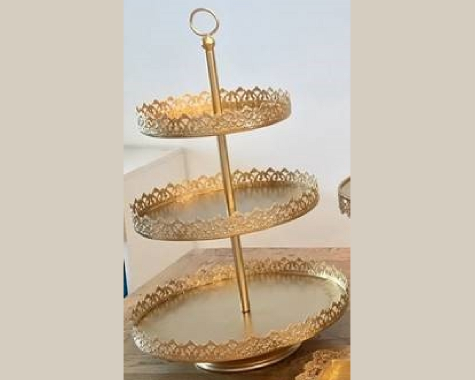 Gold 3 tier cake stand - Splash Events, Noosa & Sunshine Coast