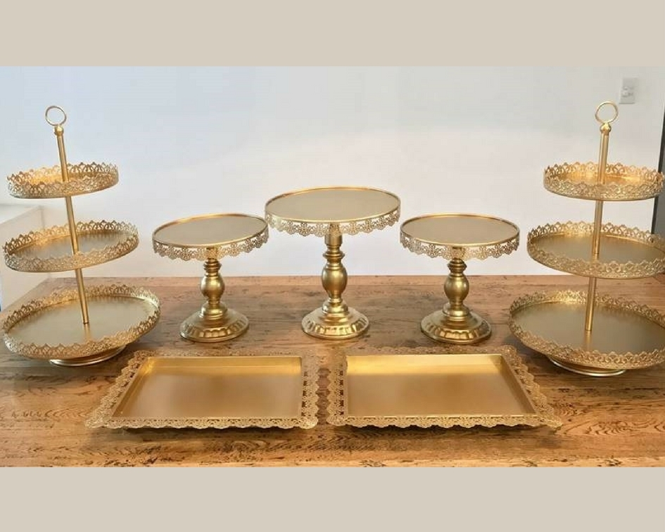 Gold cake stand set - Splash Events, Noosa & Sunshine Coast
