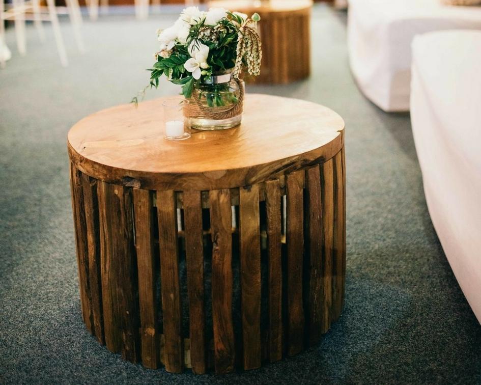 Timber drum coffee table - Splash Events, Noosa & Sunshine Coast