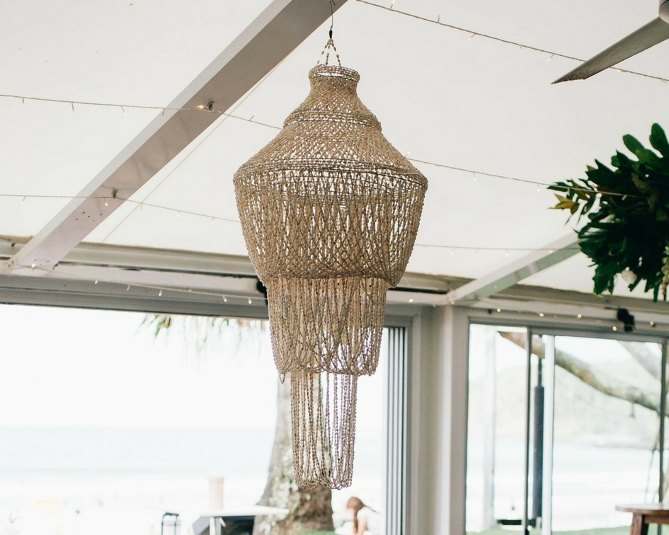 Large round shell chandelier - Splash Events, Noosa & Sunshine Coast