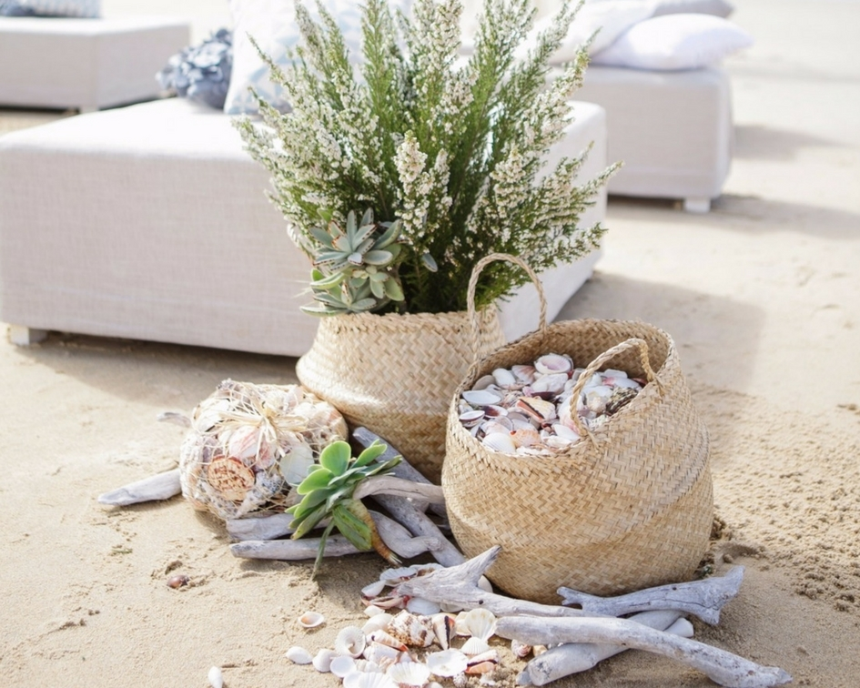 Groupings of seagrass, shells, baskets, driftwood - Splash Events, Noosa & Sunshine Coast