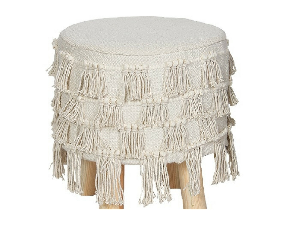 Boho fringed stool - Splash Events, Noosa & Sunshine Coast
