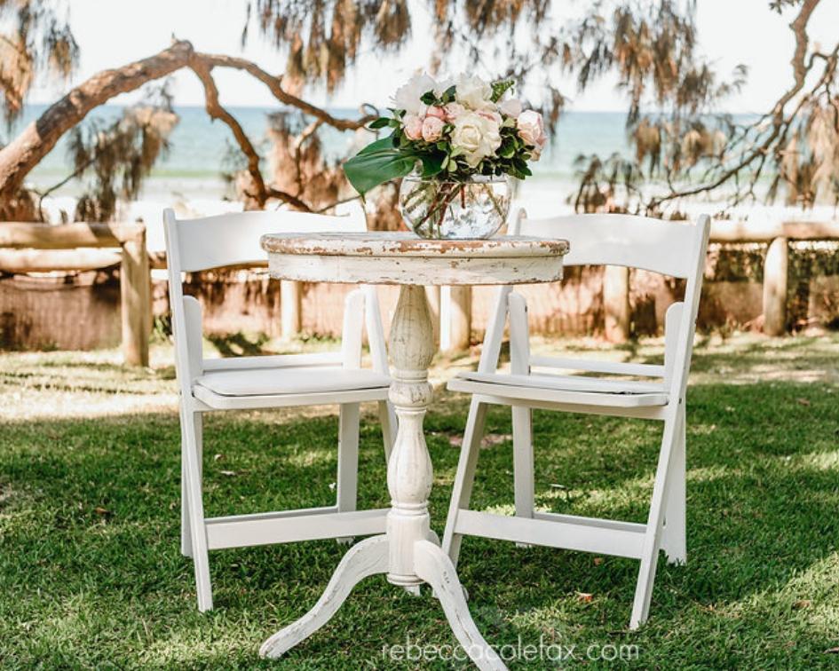 Round white washed registry table - Splash Events, Noosa & Sunshine Coast
