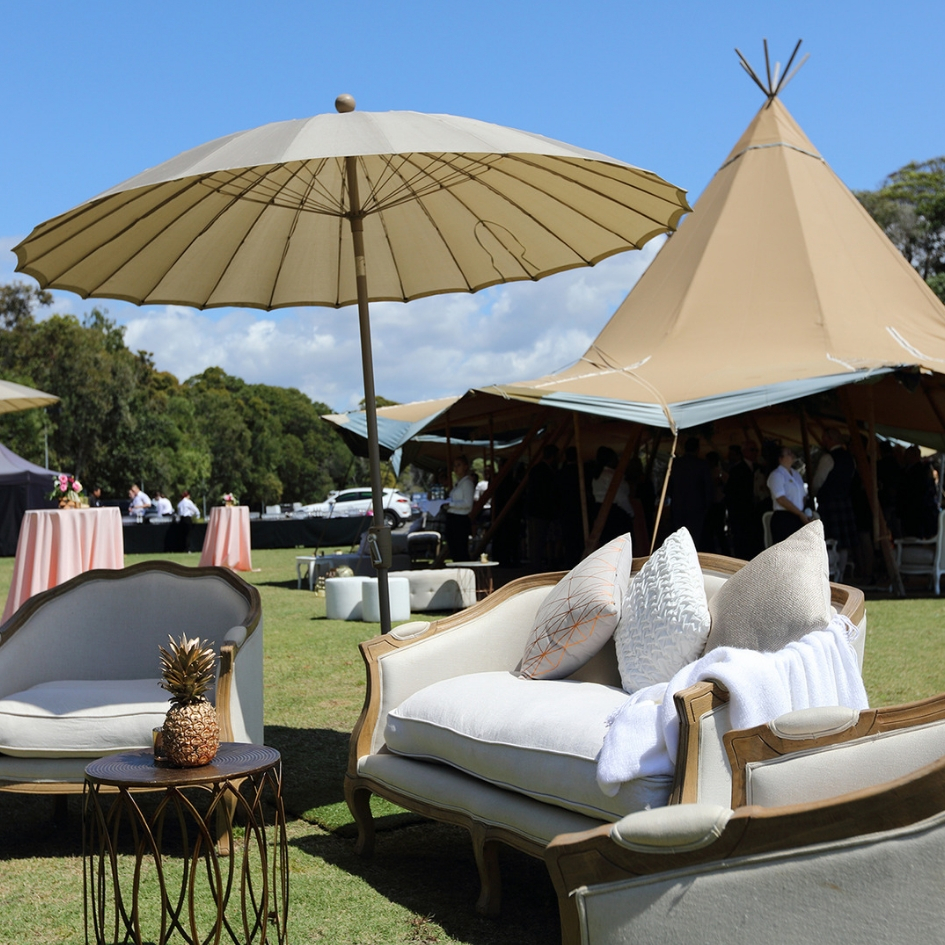 Beige Market umbrella - Splash Events, Noosa & Sunshine Coast