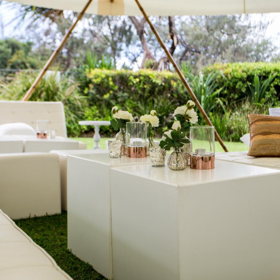 White cube tables - Splash Events, Noosa & Sunshine Coast