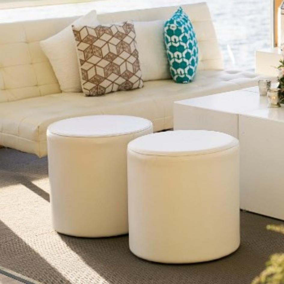 Round white leather ottoman - Splash Events, Noosa & Sunshine Coast