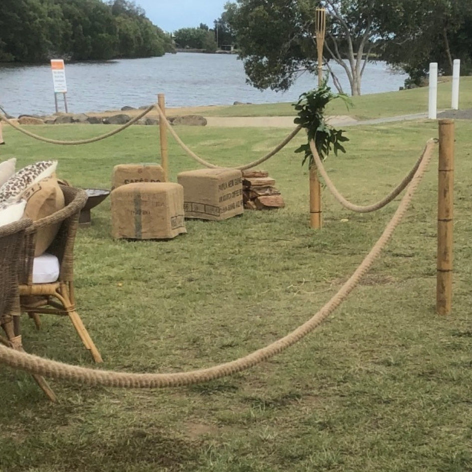 Bamboo Bollards with jute rope - Splash Events, Noosa & Sunshine Coast