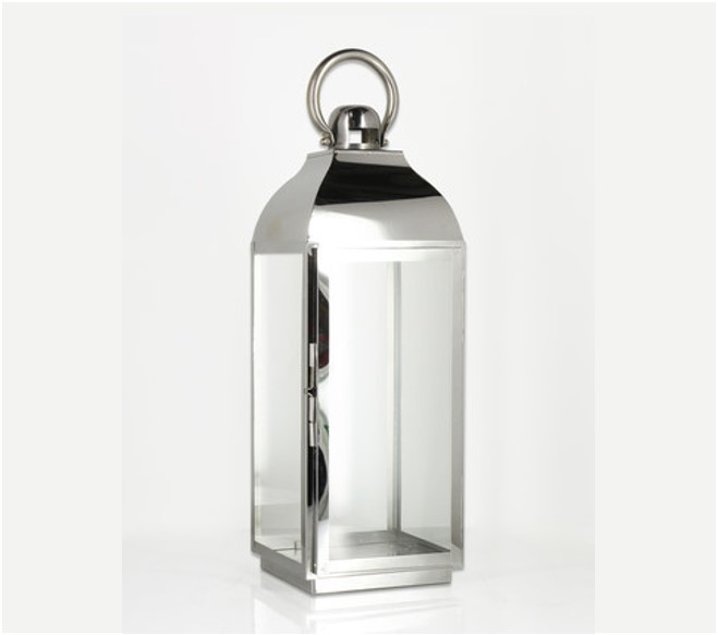 Stainless and glass lantern (large) - Splash Events, Noosa & Sunshine Coast