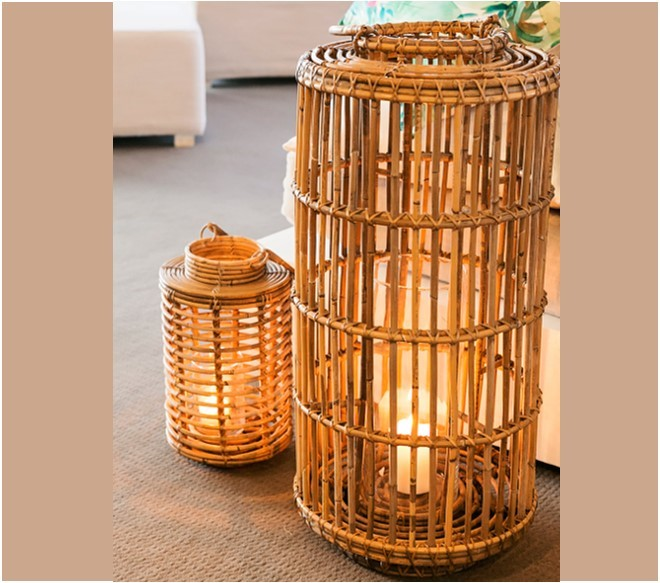 Natural cane floor lanterns - Splash Events, Noosa & Sunshine Coast