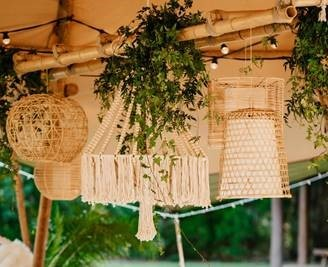 Cane Hanging Shades - Splash Events, Noosa & Sunshine Coast