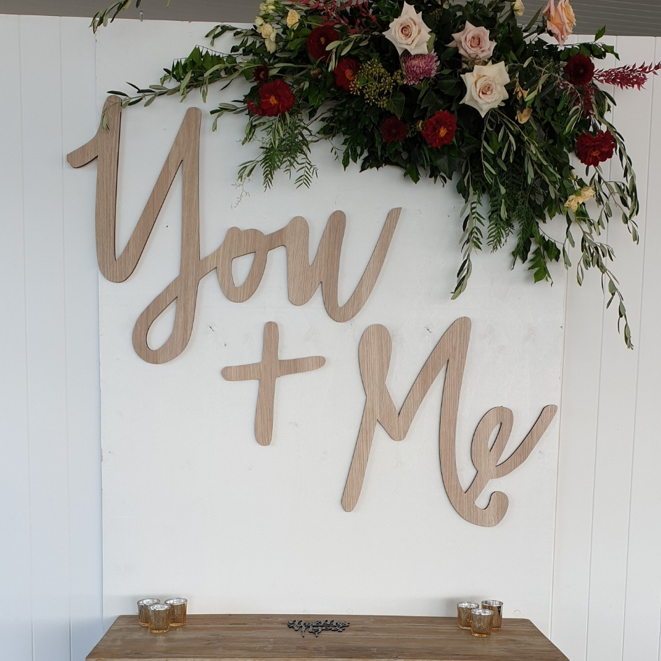 You and Me Sign - Splash Events, Noosa & Sunshine Coast