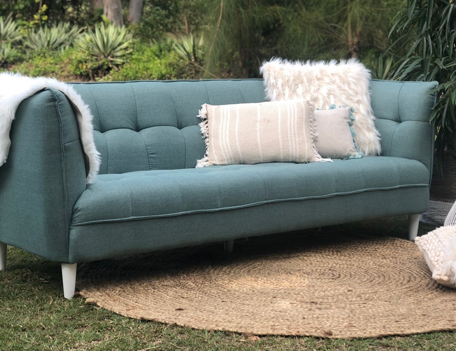 Sage press button sofa - Splash Events, Noosa & Sunshine Coast