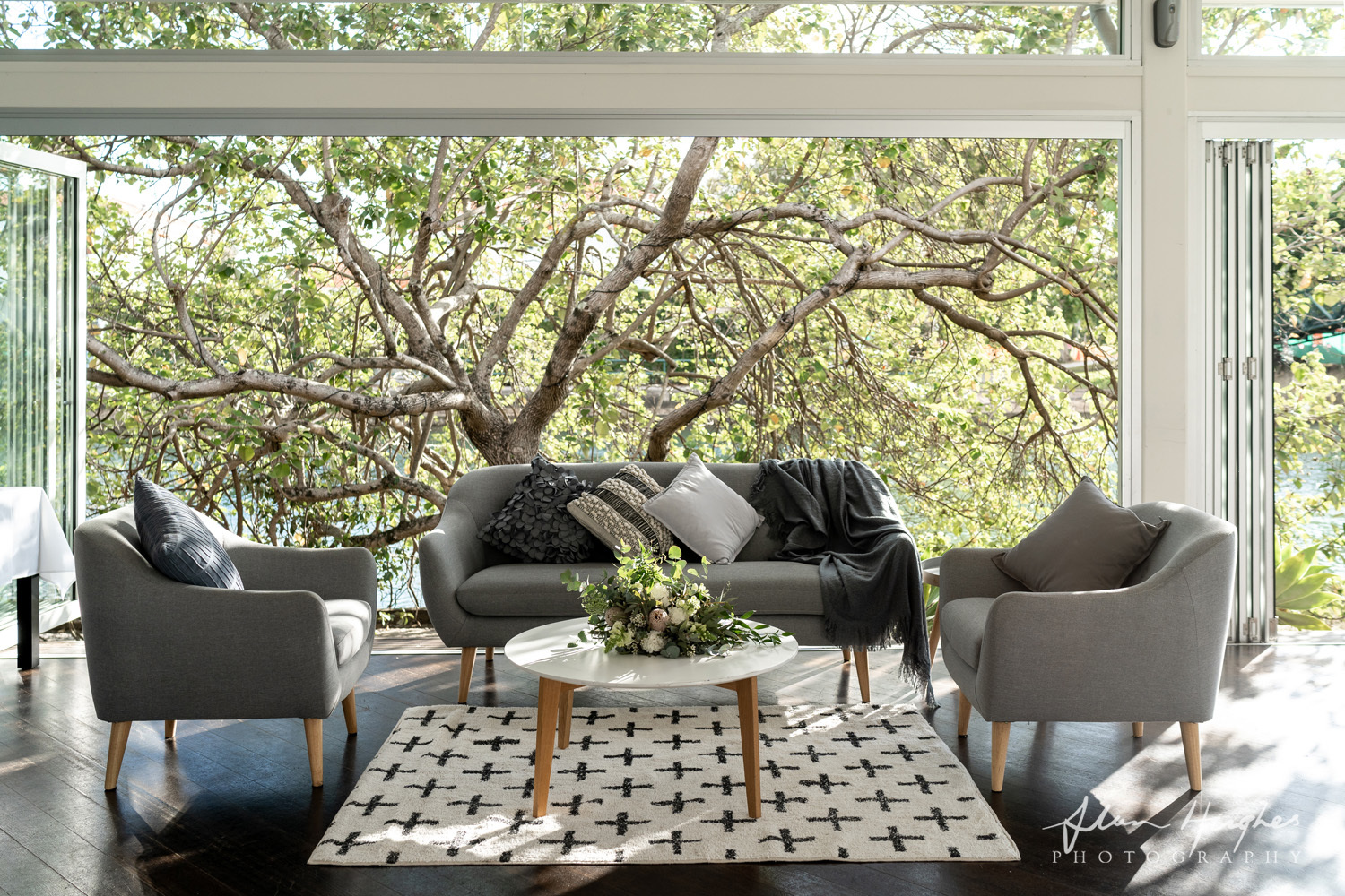 Grey Linen Lounge Setting - Splash Events, Noosa & Sunshine Coast