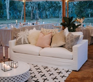 White linen lounge - Splash Events, Noosa & Sunshine Coast
