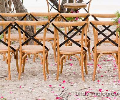 Natural hampton chairs (black cross back) - Splash Events, Noosa & Sunshine Coast